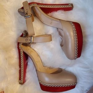 Beige and Red Studded Christian Louboutin